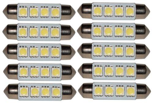 10 ampoules  C5W 12V 4LED SMD Blanc Effet xénon 41mm Navette éclairage intérieur