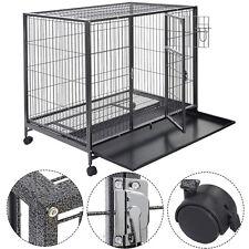 Goplus Black 44'' Dog Crate Kennel Heavy Duty Metal Wire Pet Playpen w/ Tray Pan