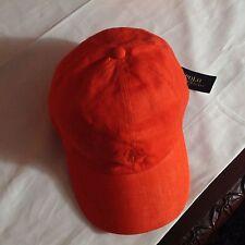 Polo Ralph Lauren Linen Sport Baseball Golf Hat Cap Orange $59.50 NEW