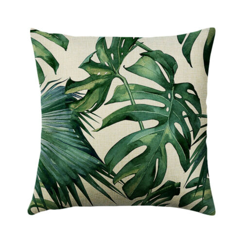 Green Leaves Printed Throw Pillow Case Cushion Cover Bedroom Decorative New LO