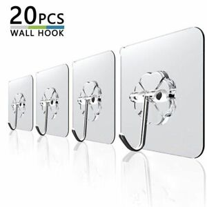 Transparent Strong Self Adhesive Door Wall Hangers Hooks Suction 10Pcs 6x6cm