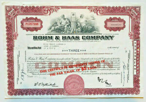 Rohm & Haas Company > 1962 old stock certificate share