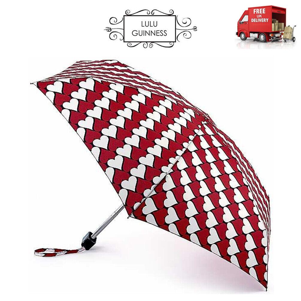Lulu Guinness Kissing Hearts Red & White Tiny Folding Umbrella Handbag Size Case