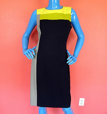 Calvin Klein Slimming Color Block Career Dress 8 S M Sheath Sleeveless Fitted