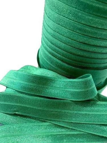 """10 yard emerald green 5//8/"""" fold over elastic FOE  DIY baby headbands /& hair ties"""