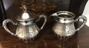 Charming Antique Gately & Rogers Quadruple Plate Creamer and Sugar Set - 1800s