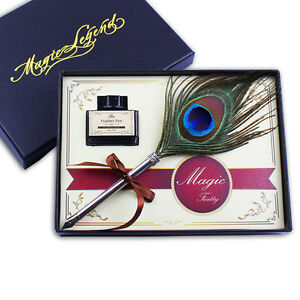 Antique-Peacock-Feather-Quill-Dip-Pen-Writing-Ink-Set-Rare-Stationery-Gift-box