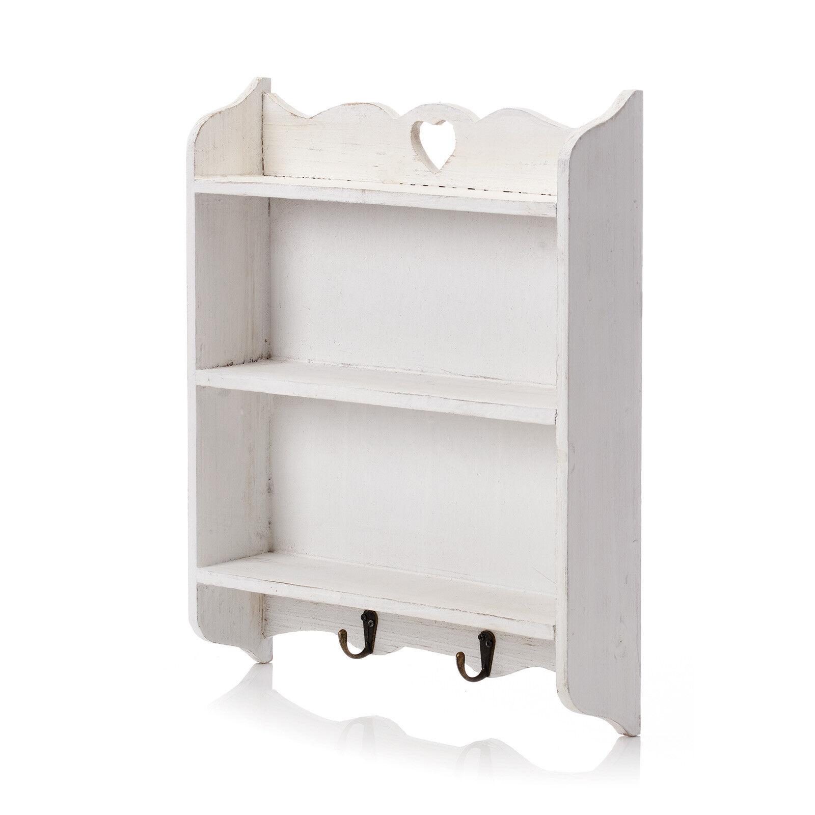 White Shabby Chic Shelf Unit Cabinet Storage Wall Mounted Rack Kitchen Home
