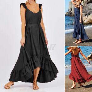 UK-Women-Party-Sleeveless-Frill-Ruffled-Asymmetric-Dress-Long-Maxi-Plus-Size