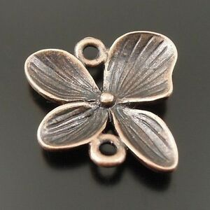 30X-Vintage-Style-Copper-Tone-Clover-Leaf-Connector-Charms-Pendant-20-20-2mm