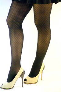 No nonsense 1 PATTERNED TIGHTS CONTROL TOP DIAMOND CT BLACK M//L L//XL USA MADE