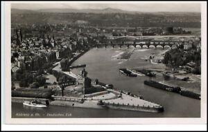 Koblenz-Rheinland-Pfalz-Postkarte-1930-40-Teilansicht-Deutsches-Eck-Luftbild-AK