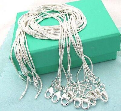 "Wholesale S925 Sterling Silver SP 10pcs 1MM snake chains 16""-24"" necklace"