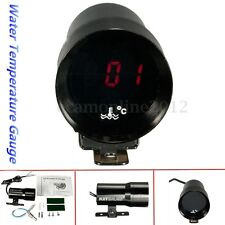 37mm Smoked Car LED Digital Water Temp Temperature Gauge Meter Pointer + Sensor