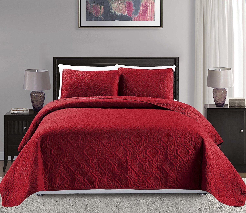 Fancy Linen 3pc OverGröße Diamond Embossed Bedspread Solid rot New