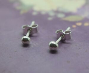 Image Is Loading Tiny Silver Ball Studs Sterling 925 Solid 2mm