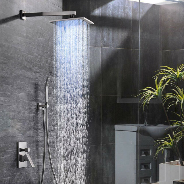 8 Brushed Nickel Led Rain Shower Combo Set Bath Square Head W Hand