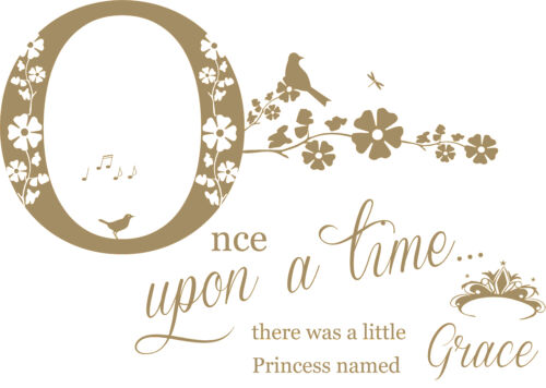Once upon a time Vinyl Wall Art Sticker Decal. Personalised Name Princess