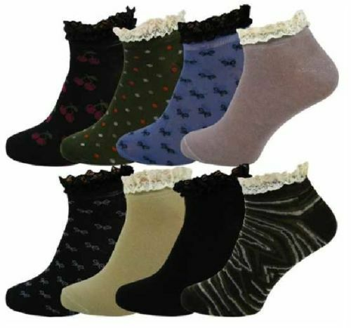 3,6,12 Pairs Ladies Cotton  Assorted Frilly Lace Trim Ankle Trainer Socks 4-7