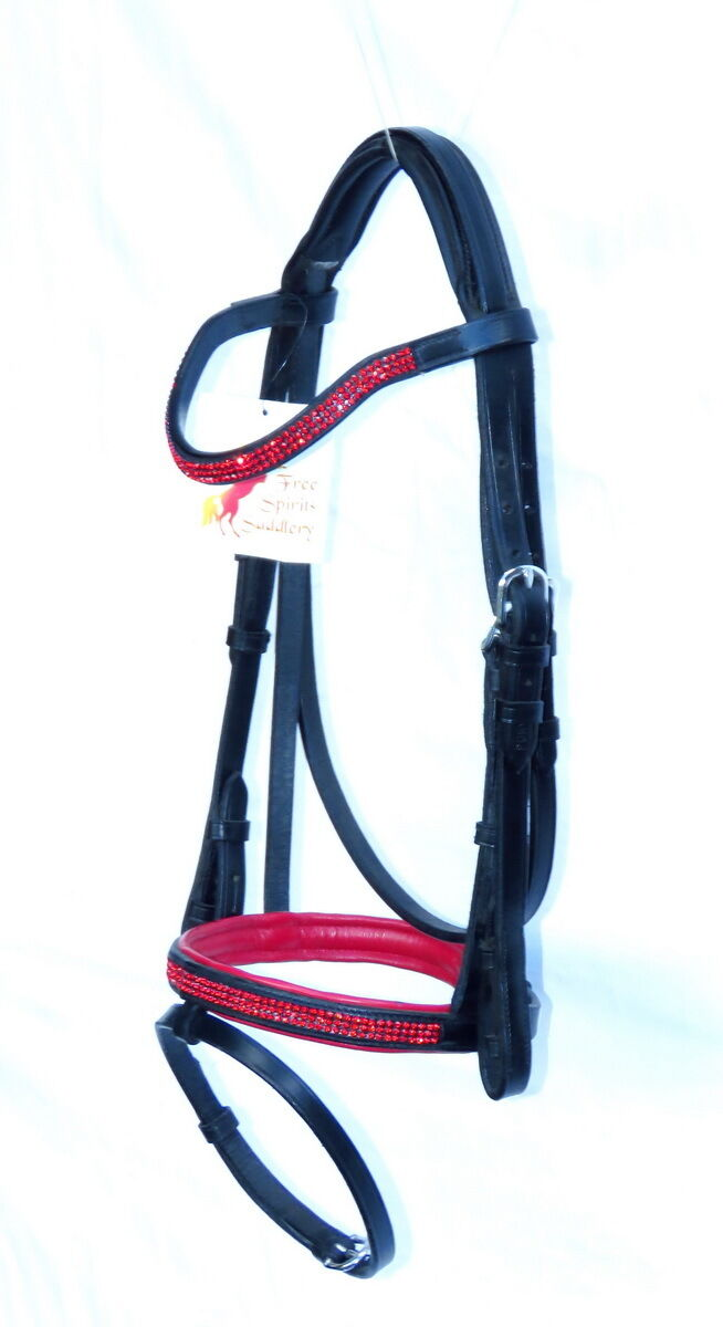 FSS GLISTEN Curve U CRYSTAL SIAM ROT BLING SCARLET Comfort Padded Bridle PONY