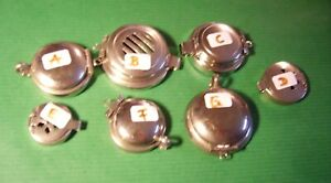 Set of 7 NEW Nickel Lids / Windshields for Pipes Germany 1920-40s  20-A-G [7]