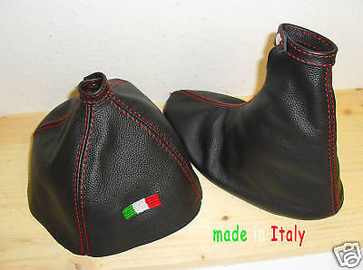 GEAR /& HANDBRAKE GAITER BLACK ITALIAN LEATHER RED EMBROIDERY LOGO