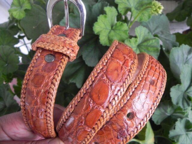 Genuine Artisan Handmade Dress Belt made of Authentic Alligator Caimán Leather