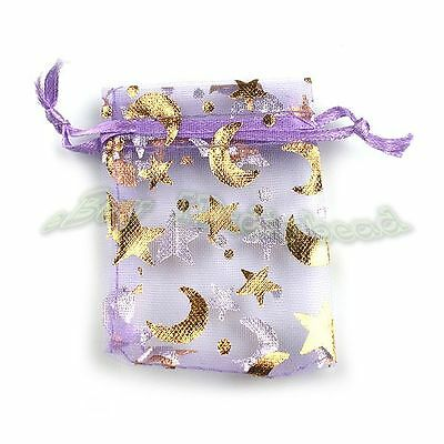 50x Hot Sale Purple Organza Pouch Bags Gift Package Wedding Favors Fit Jewelry L