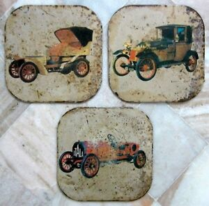 1908 Vintage Collectible Set Of 3 Tin Litho Coaster Porcelain