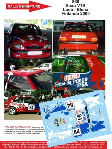 DECALS 1//32 REF 868 CITROEN SAXO SEBASTIEN LOEB RALLYE FINLANDE 2000 RALLY WRC
