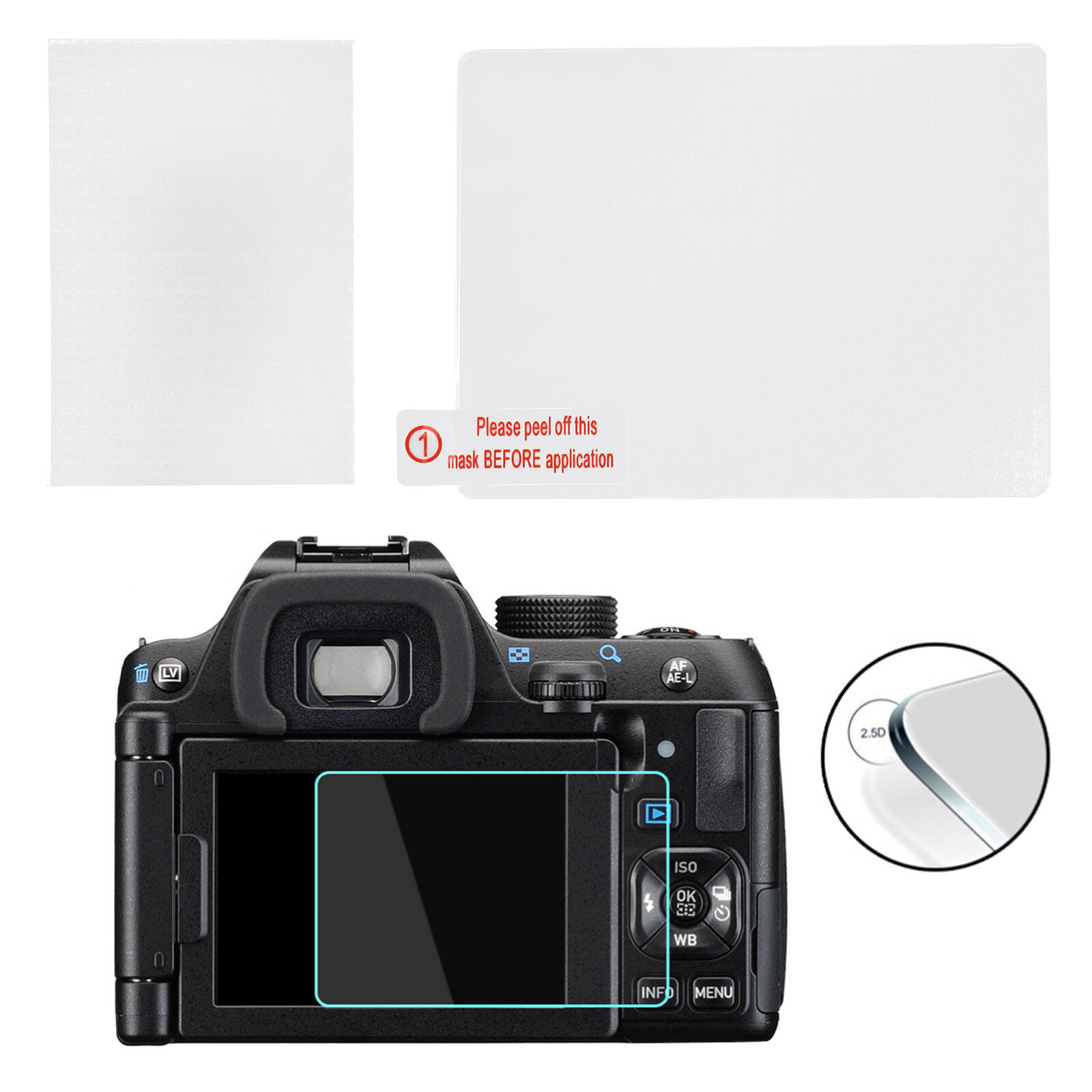 Screen Protector Film Tempered Glass Protective 2.5D for PENTAX K‑1/K‑1 Mark II