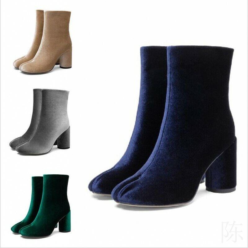 Klassisch Damen Volltonfarbe Split Toe Blockabsatz Knöchel Stiefeletten Freizeit