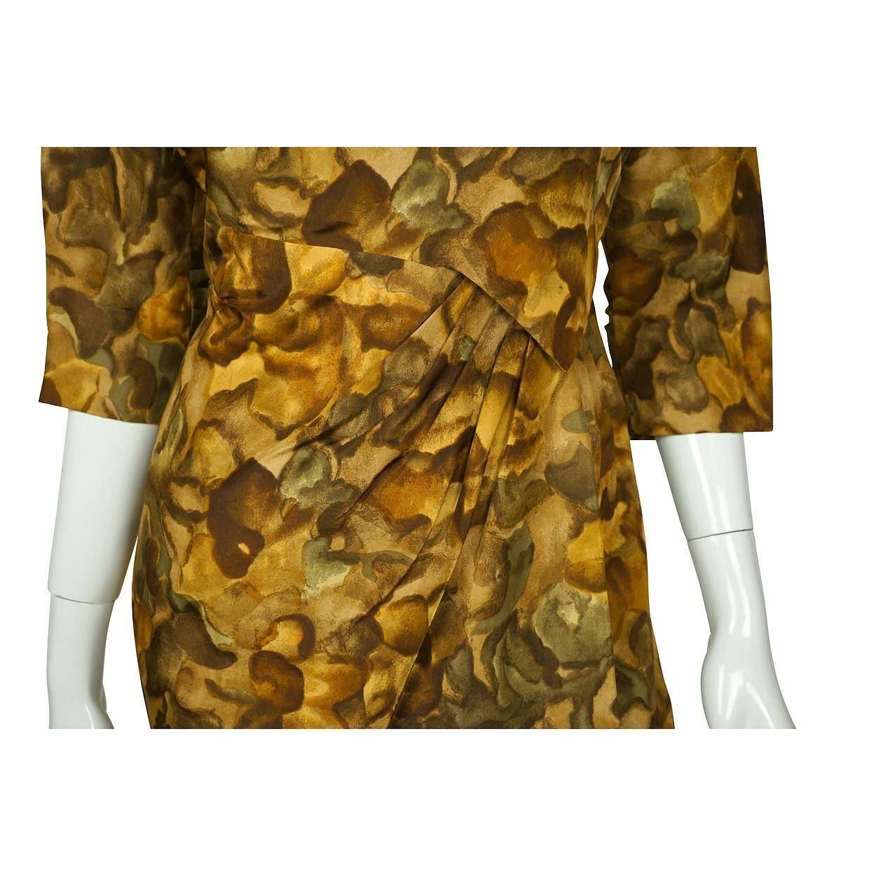 Vintage Ceil Chapman Wiggle Dress Abstract Leaf P… - image 6