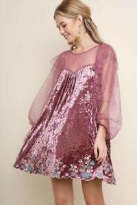 Velvet-Pink-Polka-Dot-Lace-Embroidered-Floral-Elegant-Party-293-mv-Dress-S-M-L