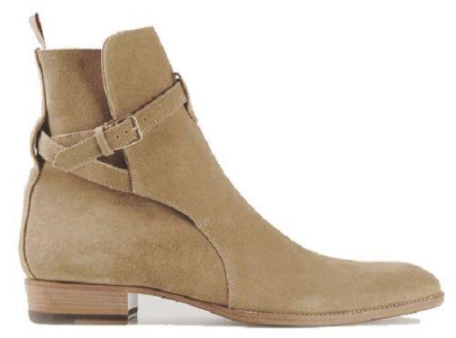 Top botas al Tobillo Para Hombre Hecho a Mano Tipo Bronceado botas al Tobillo Cuero Gamuza Hebilla de alta