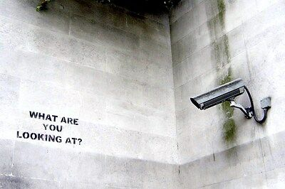QUALITY BANKSY ART PHOTO PRINT (WHAT YOU LOOKING AT)