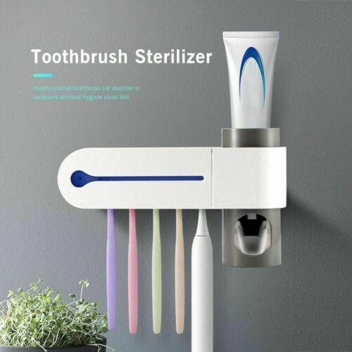 UV Light Sterilizer Toothbrush Holder Cleaner w// Automatic Toothpaste Dispenser