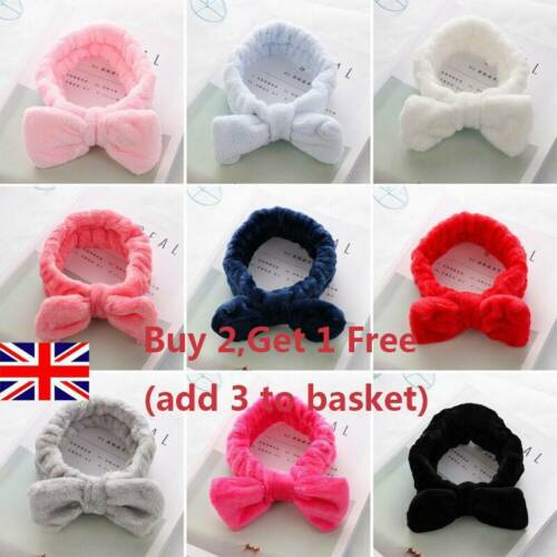 Women Turban Bow Hair Band Wash Face Coral Fleece Head Wraps Makeup Headbands UK