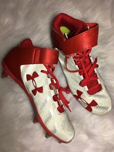 47751345d02 Details about New Under Armour Red Silver C1N Mid D Football Cleats Men s  1269641-601 Size 13