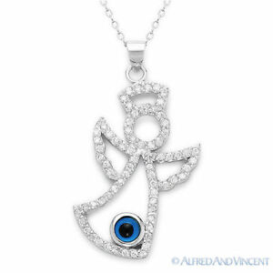 Evil-Eye-Bead-Pendant-Greek-Hamsa-Angel-Luck-Charm-925-Sterling-Silver-Necklace