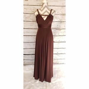 BCBGMaxazria-Brown-Long-Formal-Gown-Dress-Beaded-V-Neck-Womens-Small-Low-Back