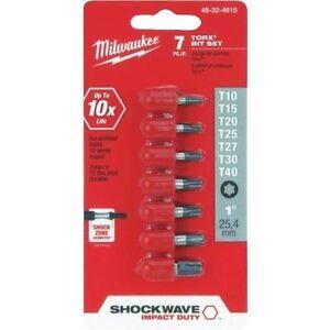 Milwaukee  SHOCKWAVE  Torx  T20   x 1 in L Impact Insert Bit Set  Steel  15 pc.