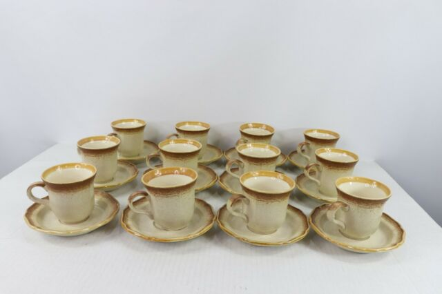 Set Of 12 Vtg Mikasa Whole Wheat E8000 An Coffee Cups Mugs And Saucers Plates