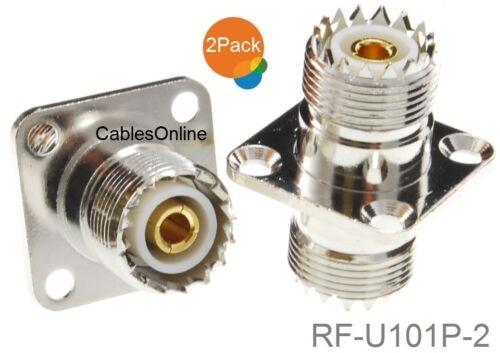2-Pack UHF SO239 Female to Female 4-Hole Panel Mount Coupler RF-U101P-2