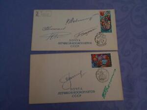 CCCP Kosmonautentag  2 Belege 6x original signiert Space