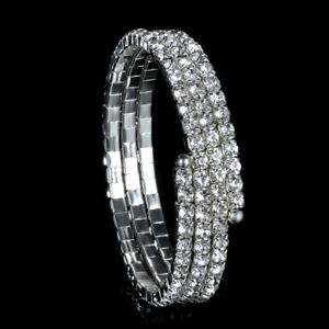 Lovely Silver And Black Diamante Bangle Bracelets Jewellery & Watches