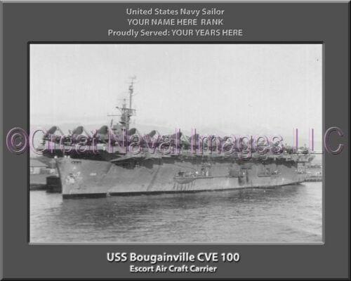 USS Bougainville CVE 100 Personalized Canvas Ship Photo Print Navy Veteran Gift
