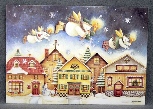 3D Pop Up Card Christmas XMAS Merry Christmas Cards Snow Town w//Envelope 10 ct