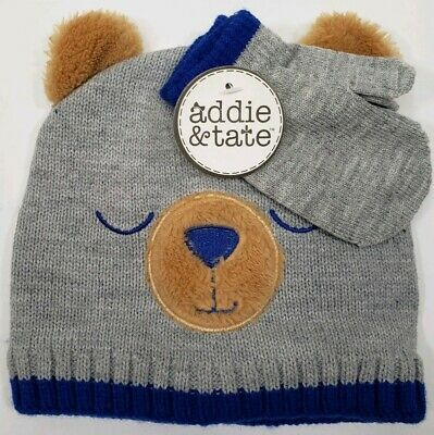 Addie /& Tate Sleeping Bear Toddler One Size Mitten And Hat Set