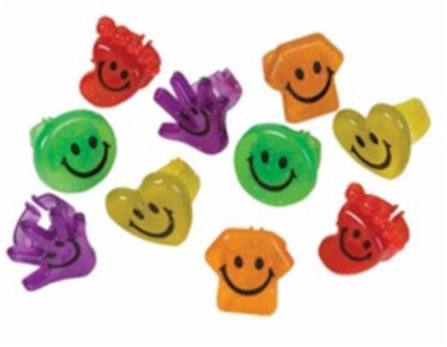 SMILEY Glitter Ring différentes couleurs et designs sourire Parti Filler X 1